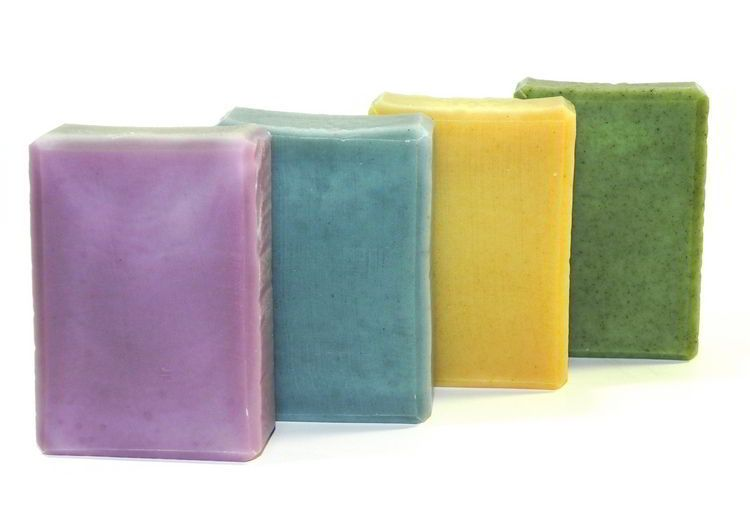 Handmade naturally colored soap made in wooden tall skinny soap mold
