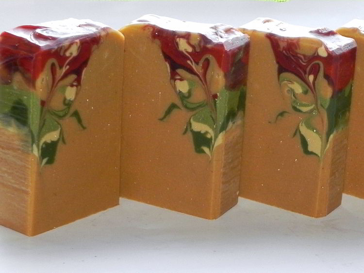 Handmade soap made in tall skinny wooden soap mold