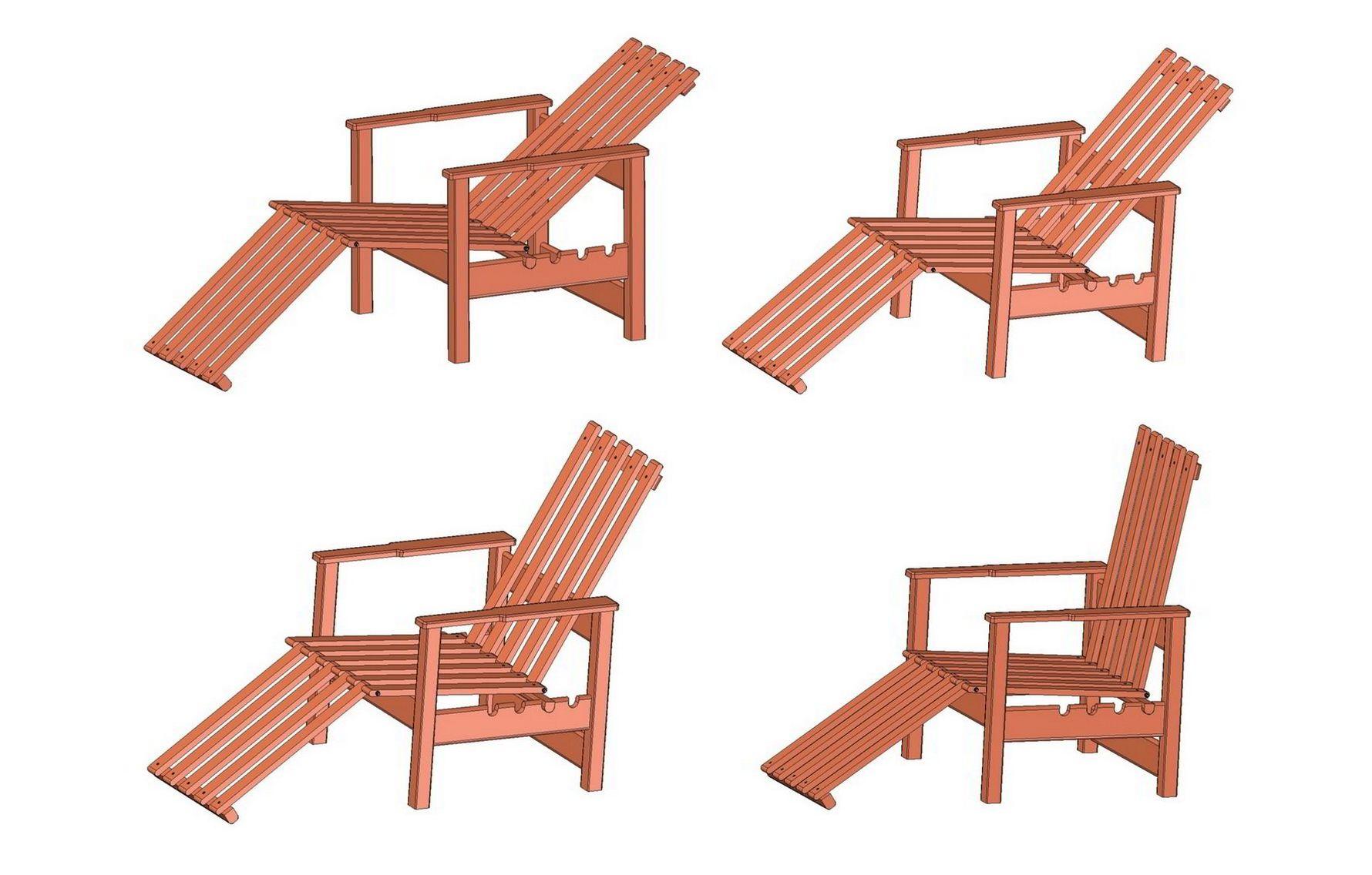 Garden adjustable wooden chair plan - Positions