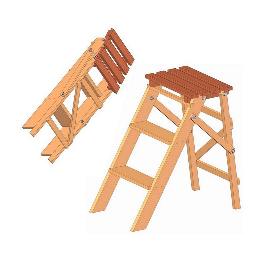 Enjoyable Folding Step Ladder Plan Beatyapartments Chair Design Images Beatyapartmentscom
