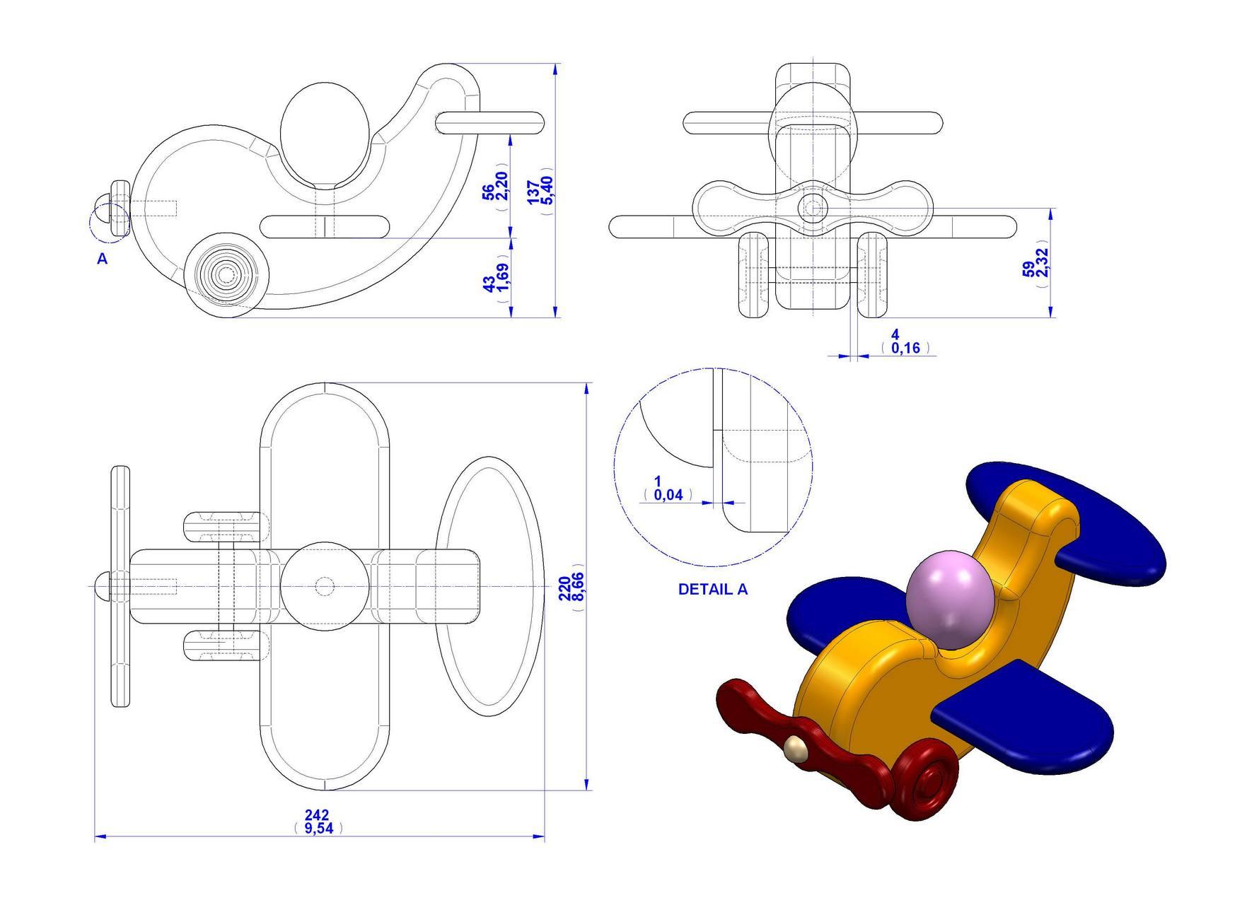 Ongekend Speelgoed vliegtuig maken van hout, gratis bouwtekeningen. TO-28