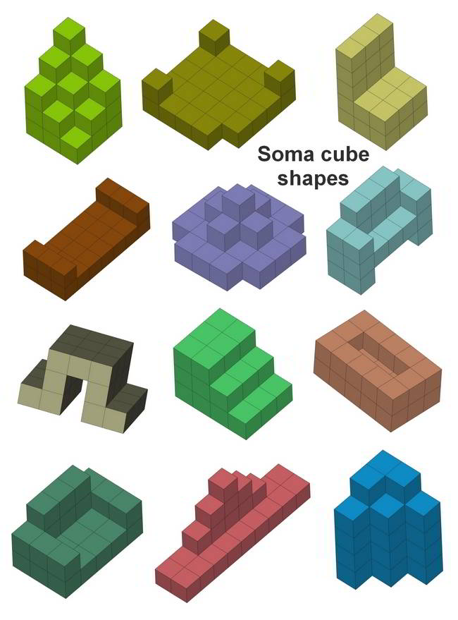 Shapes you can build with Soma cube puzzle pieces
