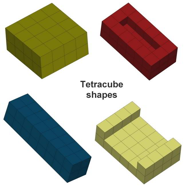Shapes you can build with Tetracube puzzle pieces