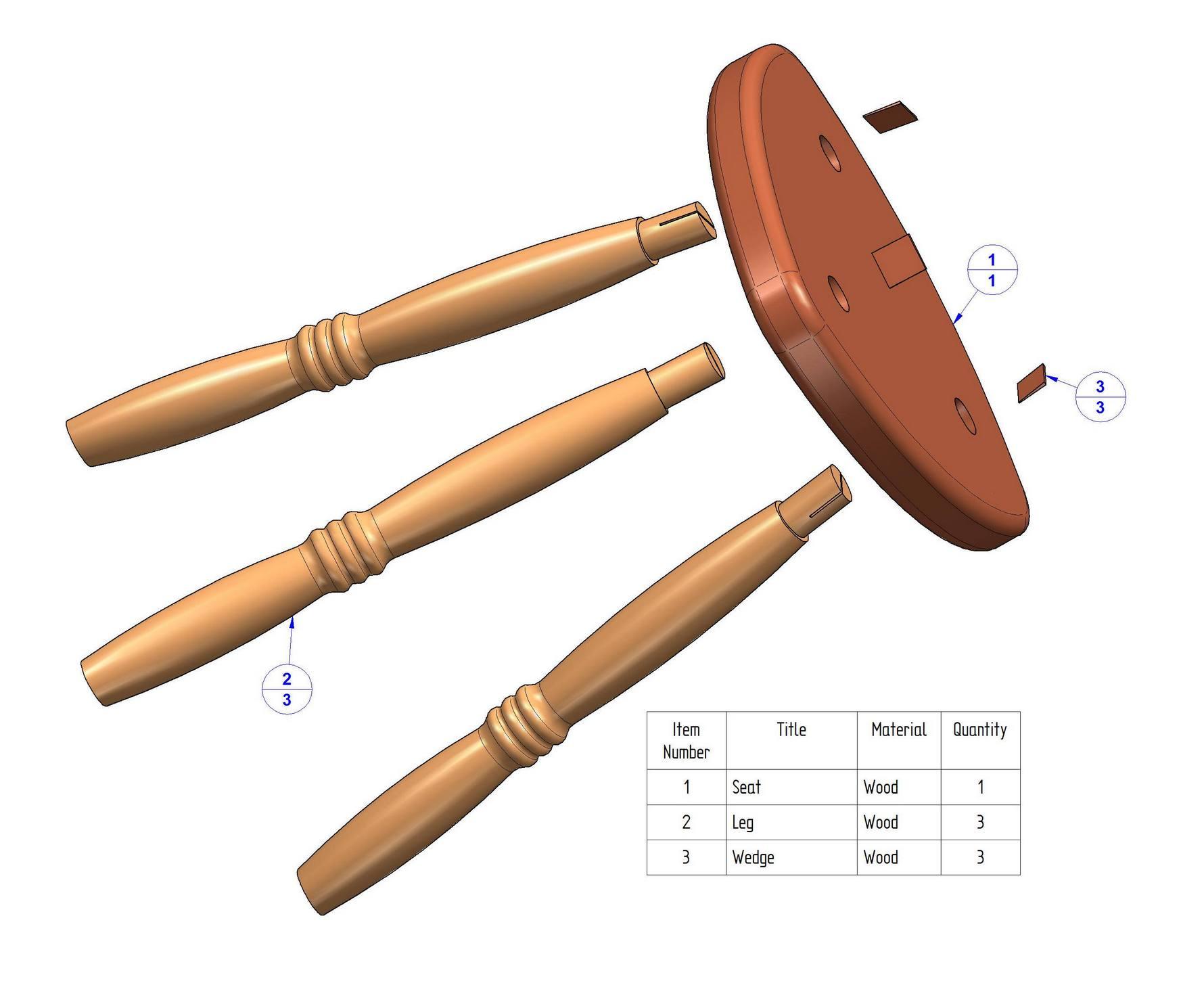 Tripod stool plan - Parts list