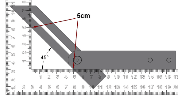 To set an angle of 45 degrees by mesurement - Steels square and sliding bevel
