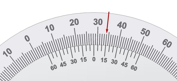 Reading the bevel protractor Vernier scale