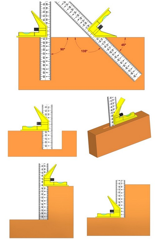 Combination square - Various uses of the square head