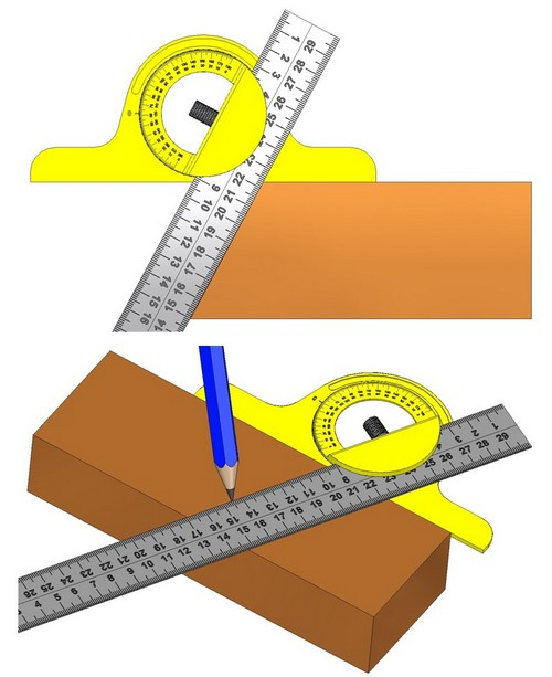 Combination square - Various uses of the protractor head