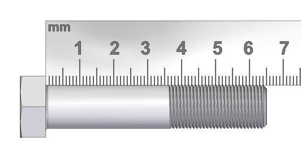 Measuring the length of a bolt or screw