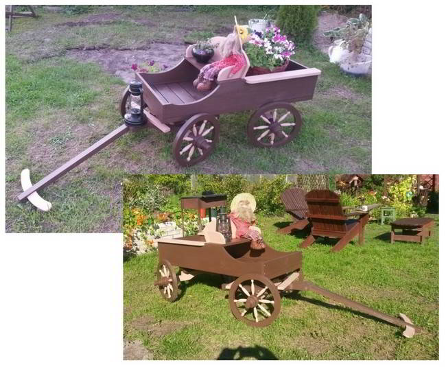 Horse drawn wagon flower pot stand - Completed