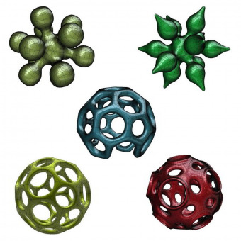 Math art 3D models based on truncated icosahedron