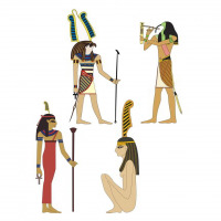 Ancient Egyptian Gods Horus, Toth and Maat
