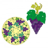 Illustrations featuring the grapes motif