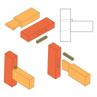 Dovetailed and wedged mortise and tenon joint