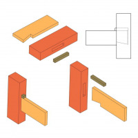 Dovetailed and wedged stub mortise and tenon joint