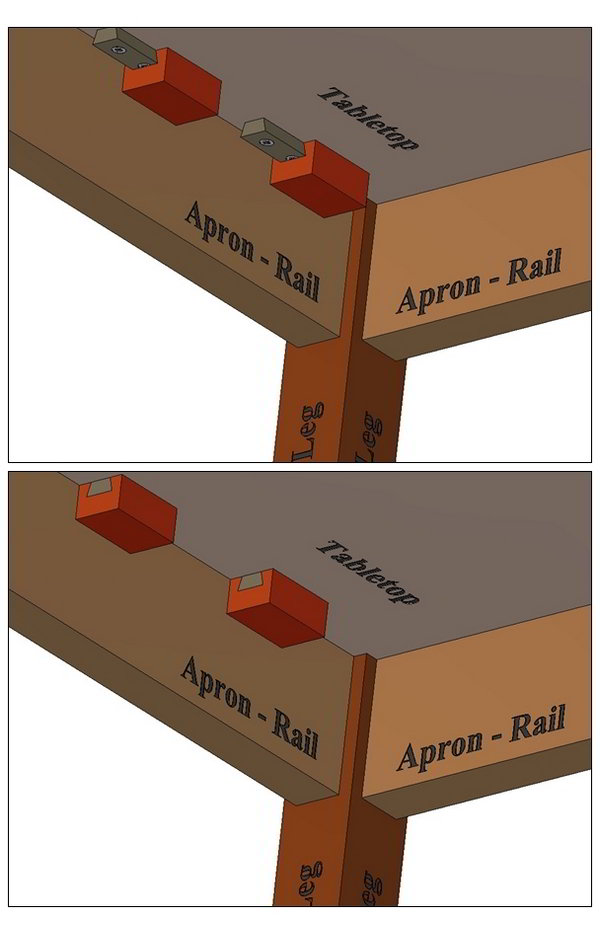 Dovetail block tabletop attaching method