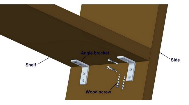 Shelf supported with angle bracket