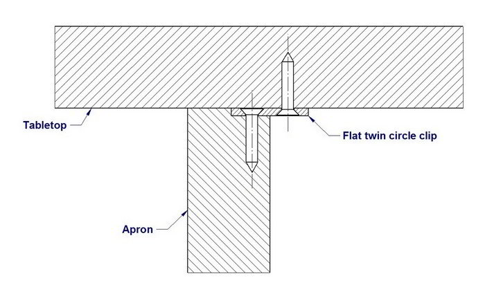 Figure 8 tabletop fastening method - 2D drawing