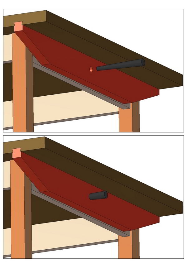 Fastening tabletop with tapered top pin