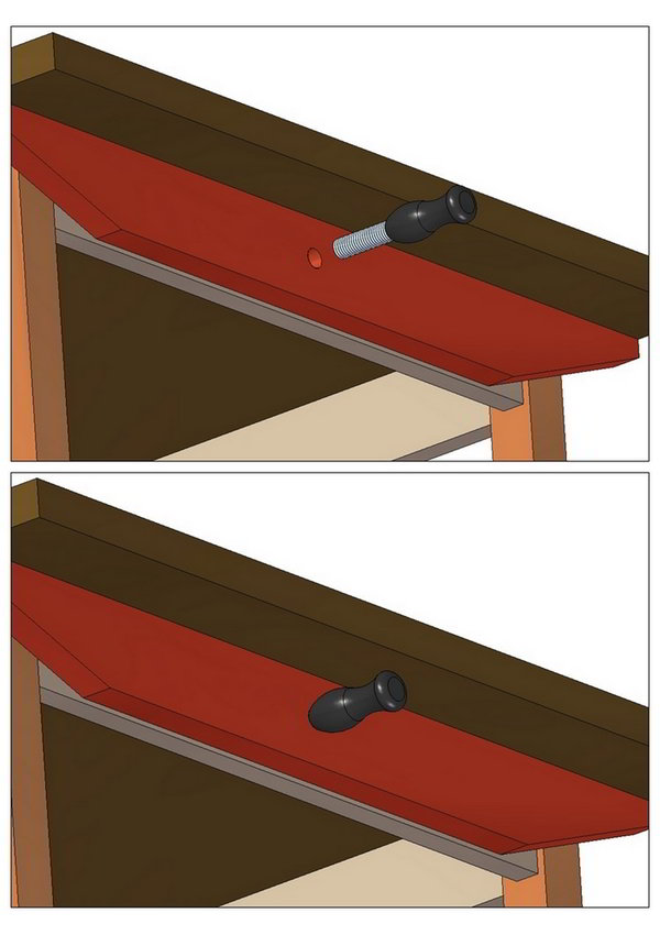 Fastening tabletop with threaded top pin
