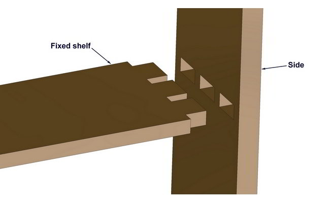 Through mortise and tenon  joint shelf hanging method